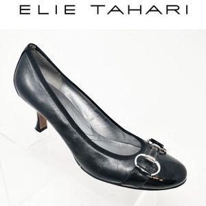 "TAHARI 2"" Kitten Heels Black Leather Horsebit 7"